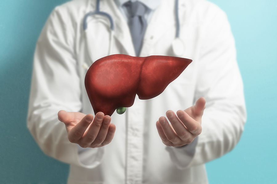Doctor and an image of a liver